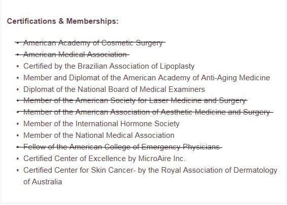 Screen shot of Dodds credentials