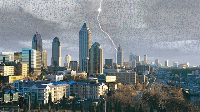 Mostly cloudy with scattered storms possible in Atlanta. (Source: WGCL)