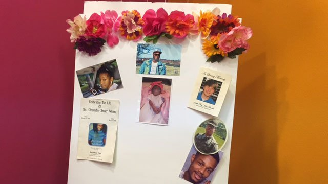 A special collage created by mothers who've lost their children. It was part of a salon celebration day for the moms at Colour Me Badd in Mableton. Source: WGCL