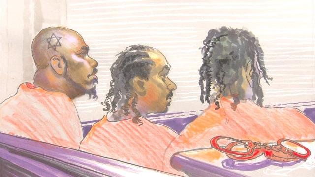 Courtoom sketch of defendants in court facing gang indictments. SOURCE: Richard Miller / Courtoom sketch artist