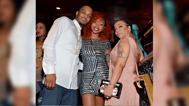 T.I., Zonnique Pullins and Tameka 'Tiny' Harris attend 'Tiny' Tameka Harris Celebrity Birthday Affair at Scales 925 Restaurant on July 14, 2015 in Atlanta, Georgia. (Photo by Prince Williams/WireImage)
