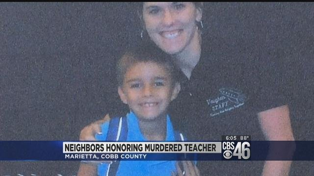 Neighbors honor teacher killed by mother-in-law