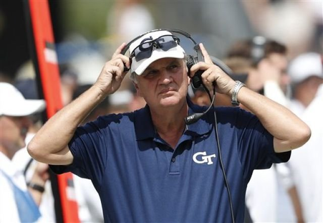 Georgia Tech head coach  Paul Johnson adjusts his headset in the first half of an NCAA college football game against Vanderbilt  Saturday, Sept. 17, 2016, in Atlanta. (AP Photo/John Bazemore)