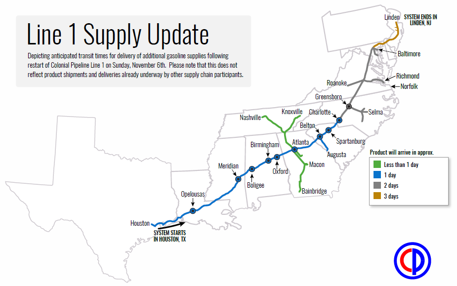 Map shows how long Colonial Pipeline says it should take for fuel supplies to return to normal levels along their Pipeline up the east coast. (SOURCE:WGCL)