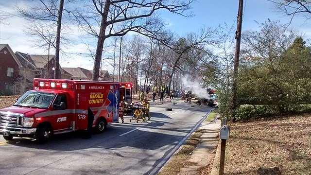 Two people died after a police pursuit led to a crash in east Atlanta. (SOURCE: SpotNews/ viewer photo)