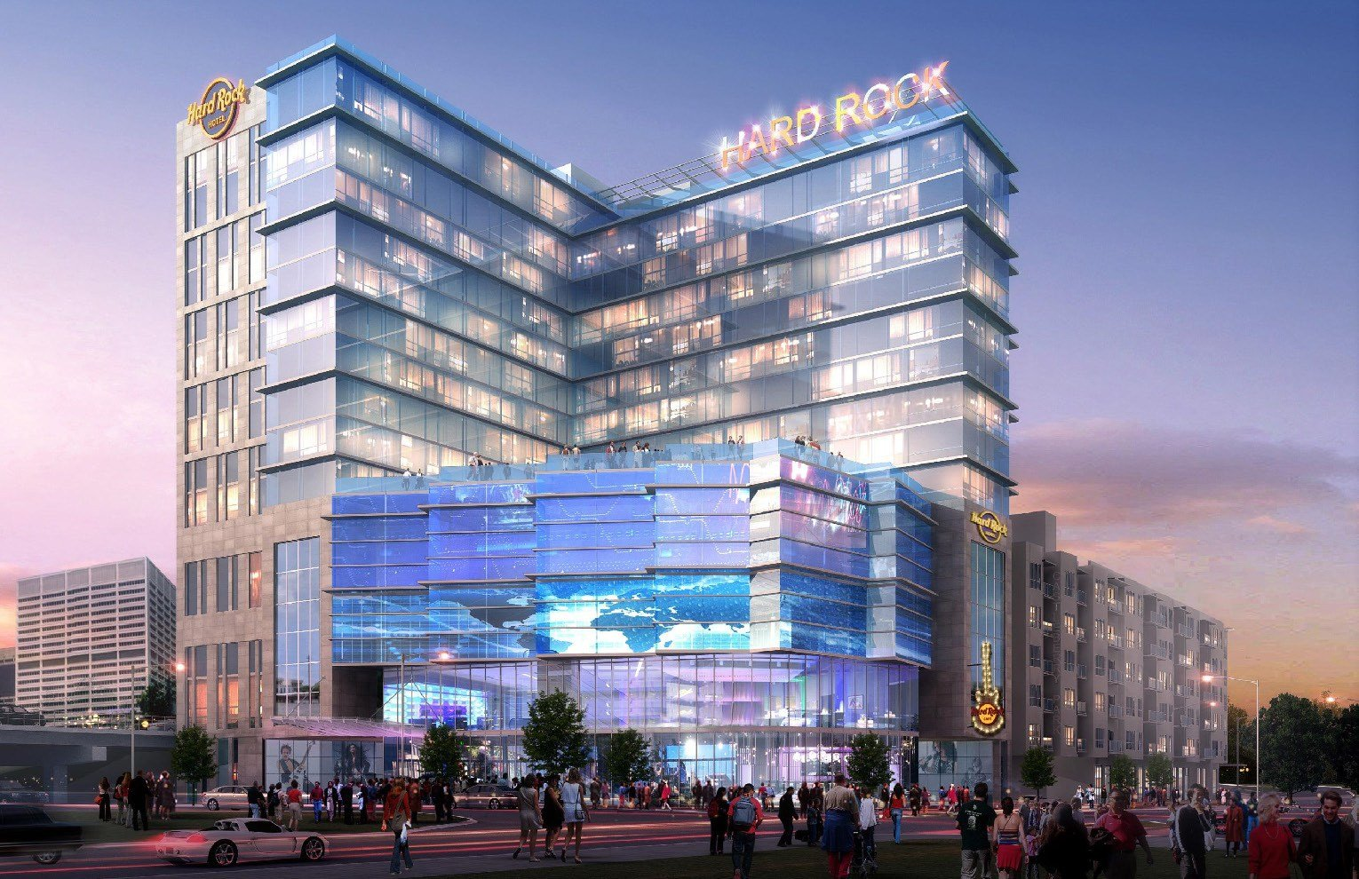 Developers break ground on hard rock hotel near mercedes for Will call mercedes benz stadium