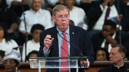 Sen. Johnny Isakson, R-Ga., speaks during the Rev. Martin Luther King Jr. holiday commemorative service at Ebenezer Baptist Church, Monday, Jan. 16, 2017, in Atlanta. (AP Photo/Branden Camp)