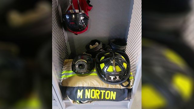 Picture of Norton's locker (Source: Coweta County Fire Rescue Facebook)