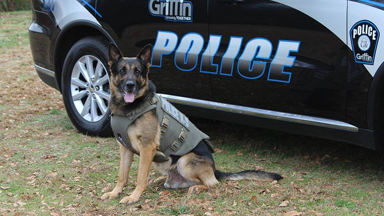 Four City of Griffin Police K-9s were gifted protective vests thanks to a non-profit organization. (SOURCE: City of Griffin Police)