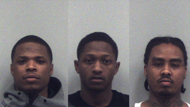 Jalen Darden, left, Evan Griffin, middle, and Keldrick Giles are accused of stealing more than $4,000 in gift cards from a Home Depot store. (SOURCE: Norcross PD)