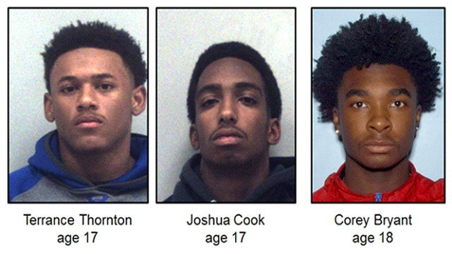 Terrance Thornton, Joshua Cook, Corey Bryant | Source: Gwinnett County Police Department