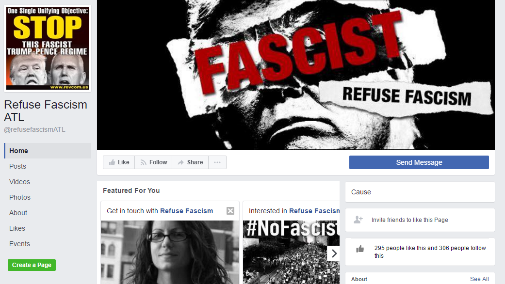 Facebook page for Refuse Facism ATL. (SOURCE: Facebook)