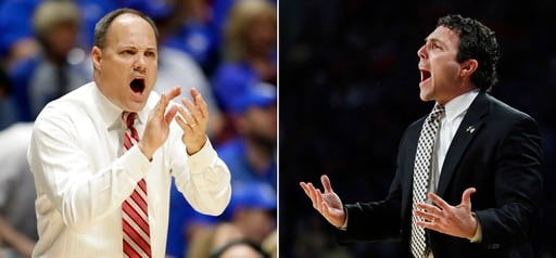 At left, in a March 10, 2017, file photo, Georgia head coach Mark Fox yells to his players during the first half of an NCAA college basketball game against Kentucky at the Southeastern Conference tournament, in Nashville, Tenn. (SOURCE: AP)