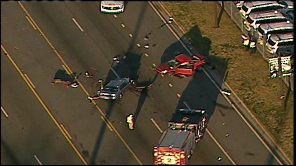 A fatal accident took place at the corner of Lawrenceville Highway and Jimmy Carter blvd. Thursday morning, March 16, 2017. (SOURCE: WGCL)