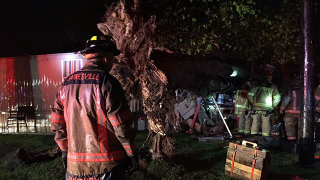 Firefighters save man trapped by tree in Gainesville (Source: WGCL)