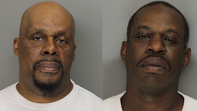 Kenneth Corley, left, and Samuel Washington are accused of stealing 45 handguns that were shipped through their job in Marietta. (SOURCE: WGCL)