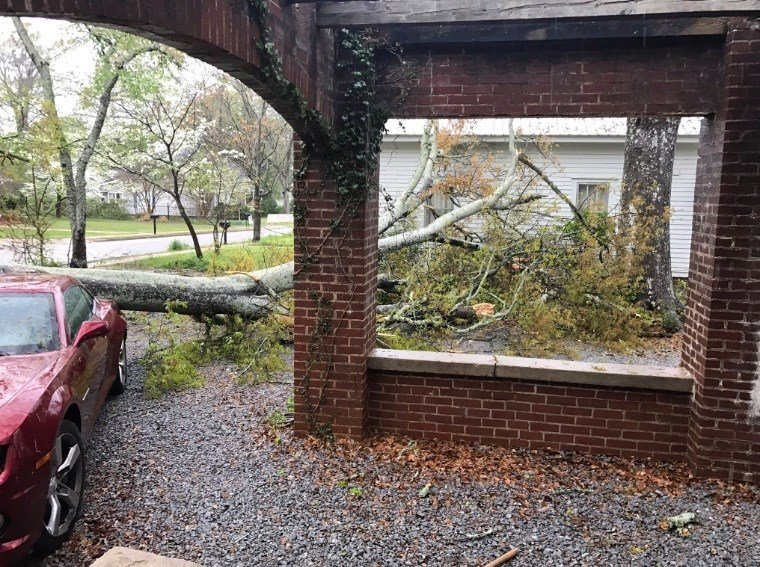 A fire station in Carroll County had its roof blown off during severe weather on Monday, April 3, 2017.