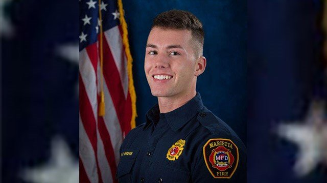 Marietta firefighter Ron Herens, 24, died in a car accident while vacationing in California.