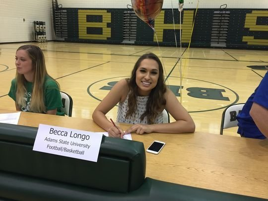 Becca Longo, 18, is the first woman in U.S. history to sign a letter of intent for a D-II football program.