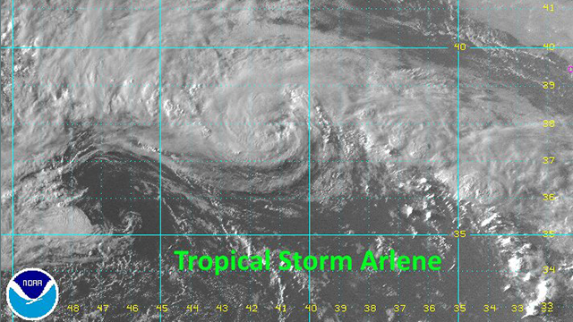 Tropical storm Arlene formed on April 20, 2017.