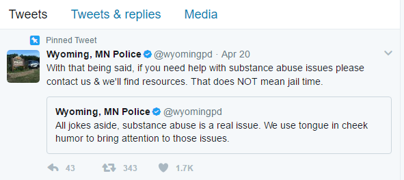 The tongue-in-cheek gesture was followed by another message saying anyone with substance abuse issues should contact them and they'll help find resources.