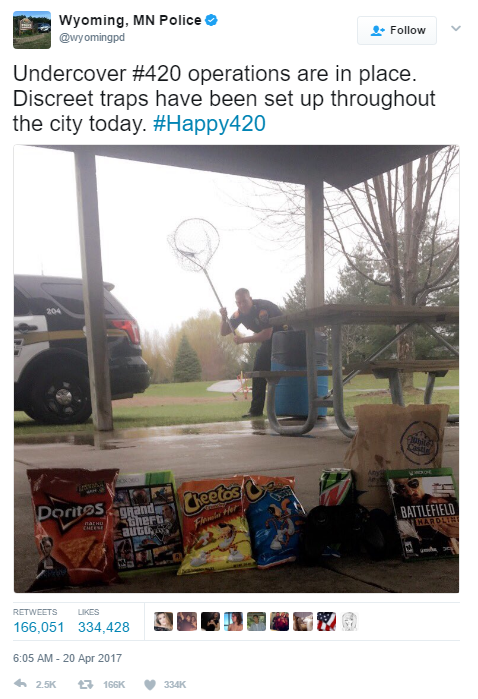 Police officers in the city of Wyoming, Minnesota have been setting traps to catch people celebrating April 20th.