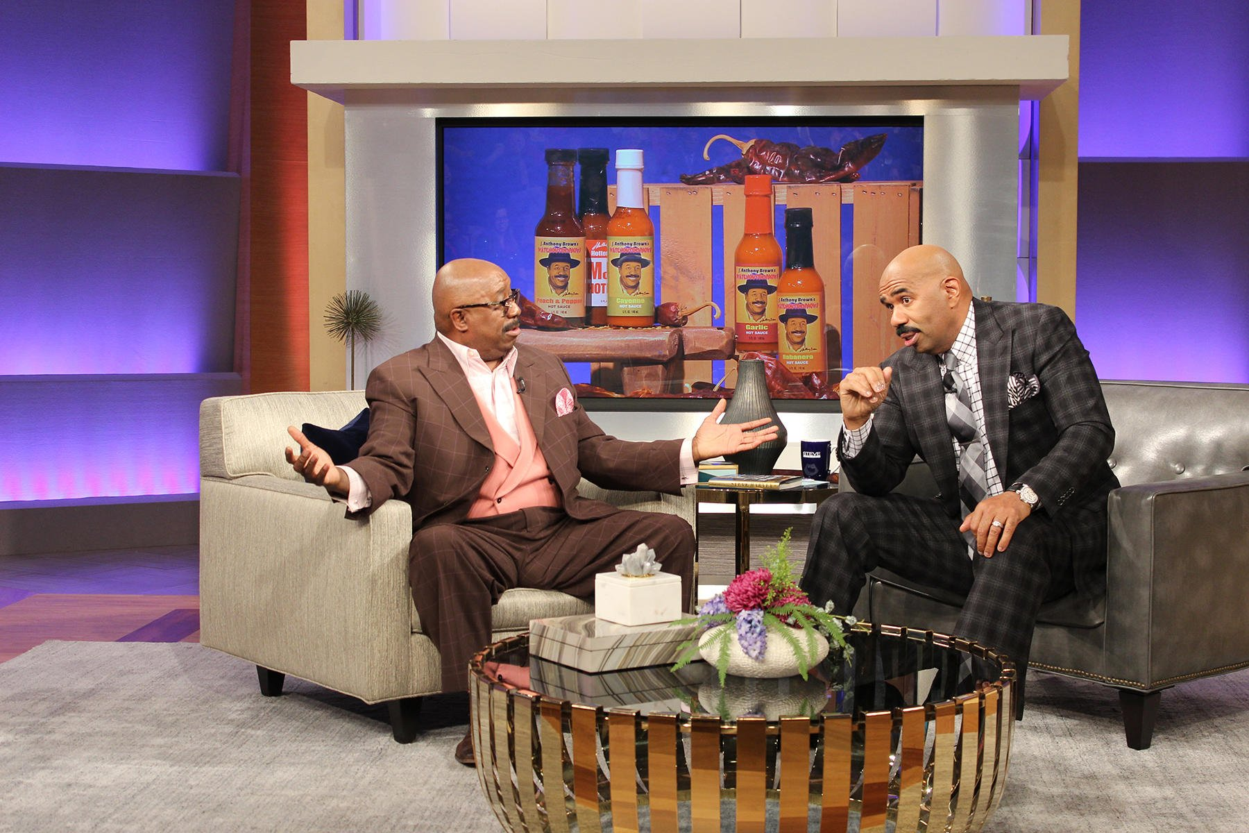 Steve Harvey (right) welcomed 20-year radio veteran J. Anthony Brown (left) to the Steve Harvey Show as a daily contributor on Monday, April 24