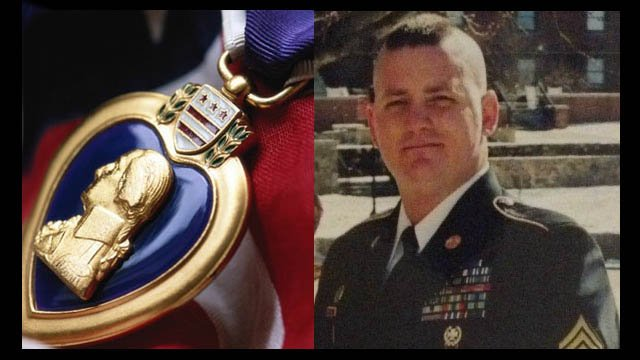 Shane Ladner from a CBS46 file photo, along with an image of a Purple Heart. (SOURCE: WGCL)