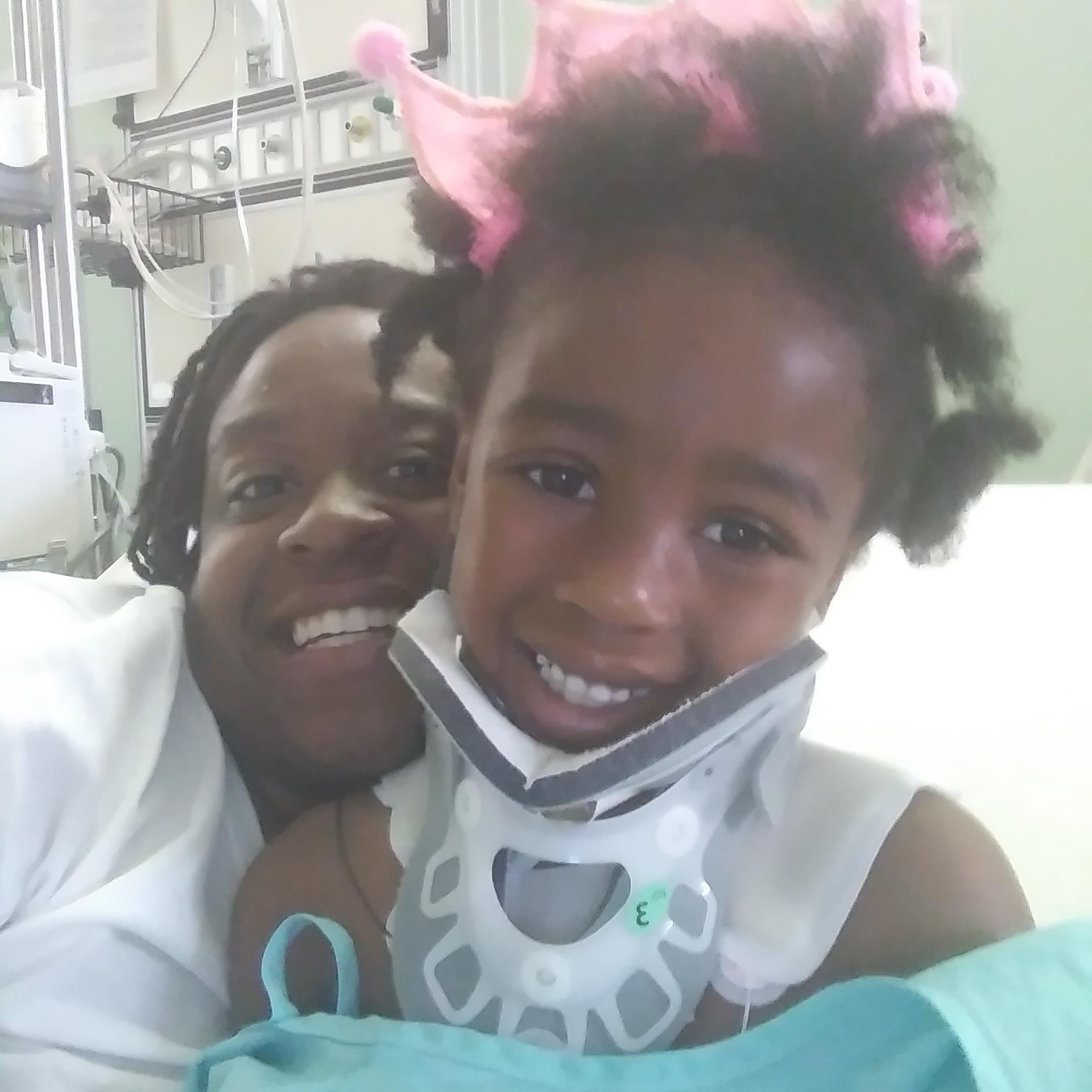 Princess Jackson, who's 6 years old, was eating cereal on her bed with her siblings while watching television when a bullet came through the wall, hitting her in the neck and coming out of her back.  (Photo: Princess' mother)