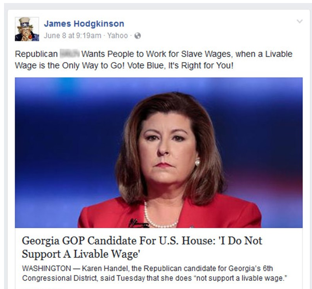 """He also made a politically charged statement on a Facebook post about District 6 congressional candidate Karen Handel. (In a recent debate, Handel drew criticism for saying """"I do not support in a livable wage."""")"""