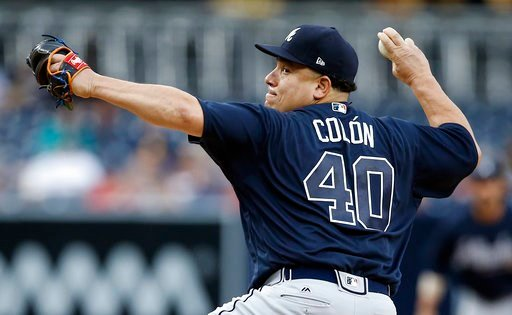 Atlanta Braves starting pitcher Bartolo Colon throws to the plate during the first inning of a baseball game against the San Diego Padres in San Diego, Wednesday, June 28, 2017. (AP Photo/Alex Gallardo)