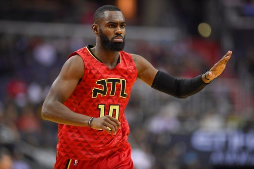 Atlanta Hawks guard Tim Hardaway Jr. (10) reacts during the first half in Game 5 of a first-round NBA basketball playoff series against the Washington Wizards, Wednesday, April 26, 2017, in Washington. (AP Photo/Nick Wass)