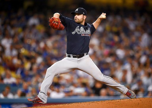 Atlanta Braves starting pitcher Jaime Garcia pitches during the fifth inning of a baseball game against the Los Angeles Dodgers in Los Angeles, Friday, July 21, 2017. (AP Photo/Kelvin Kuo)