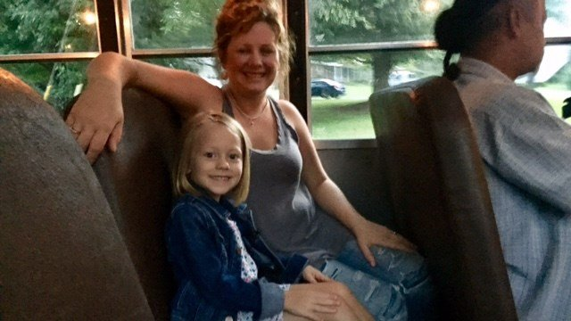 Oakley Maney and her mom Cassidy practice the bus route to McCall Primary School