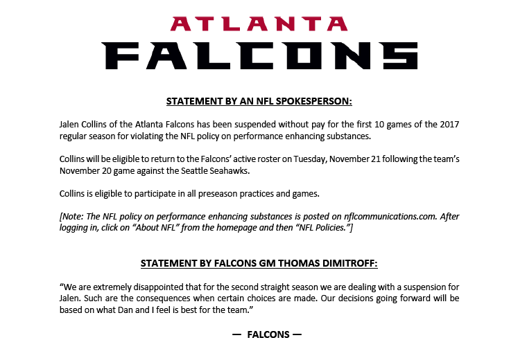 Source: Atlanta Falcons via Twitter