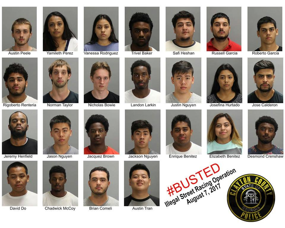 25 suspects were arrested on Aug. 7. (Source: Clayton County Police Dept.)