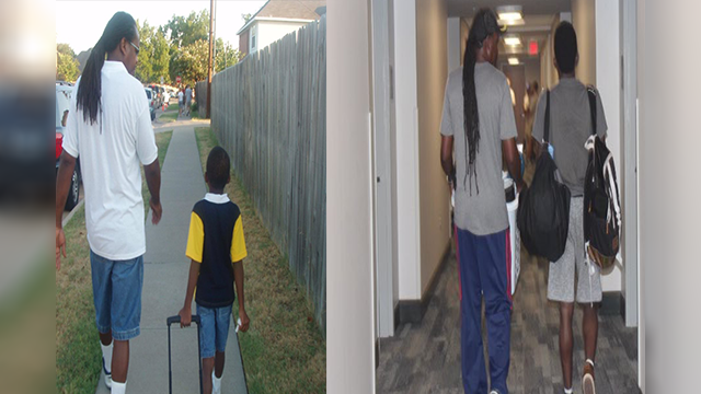Father walks son to first day of kindergarten, college in heartwarming photos