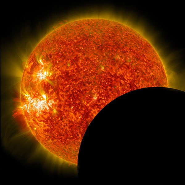In a solar eclipse, what you're observing is the sun, which is directly behind the moon. (Photo: NASA)