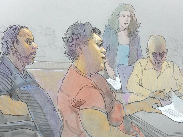 Three of the postal workers during their arraignment. From L to R: Frank Webb, Leea Janel Holt, Eddie Nash.