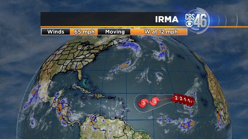 Irma's winds weaken slightly, now a category 2 hurricane
