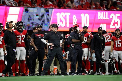 Atlanta Falcons head coach Dan Quinn watches play against the Jacksonville Jaguars during the second half of an NFL football game, Thursday, Aug. 31, 2017, in Atlanta. (AP Photo/David Goldman)