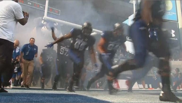 Georgia State players run out of the tunnel before their inaugural game at GSU Stadium. (Source: WGCL)