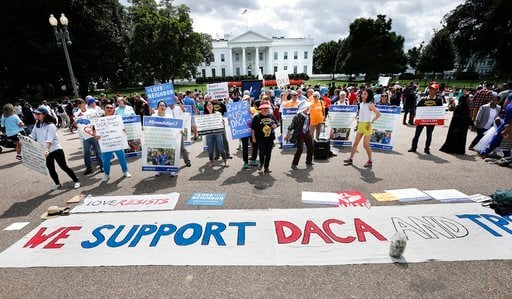 (AP Photo/Pablo Martinez Monsivais). In this Sunday, Sept. 3, 2017 photo, supporters of Deferred Action for Childhood Arrivals program (DACA), demonstrate on Pennsylvania Avenue in front of the White House in Washington.