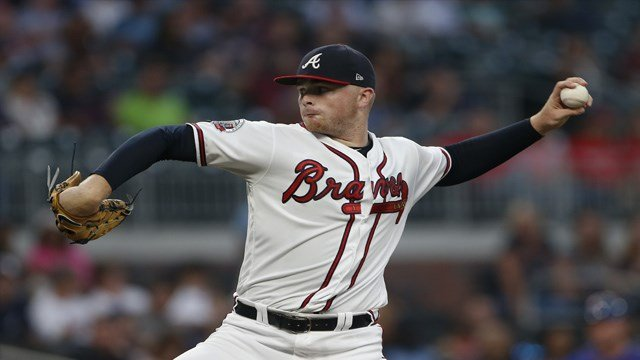 Atlanta Braves starting pitcher Sean Newcomb (51) works in the first inning of a baseball game against the New York Mets on Friday, Sept. 15, 2017, in Atlanta. The Braves won 3-2. (AP Photo/John Bazemore)