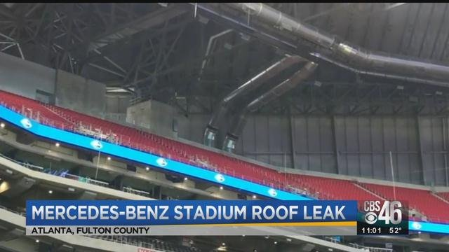 Roof leak discovered at mercedes benz stadium cbs46 news for Mercedes benz stadium roof