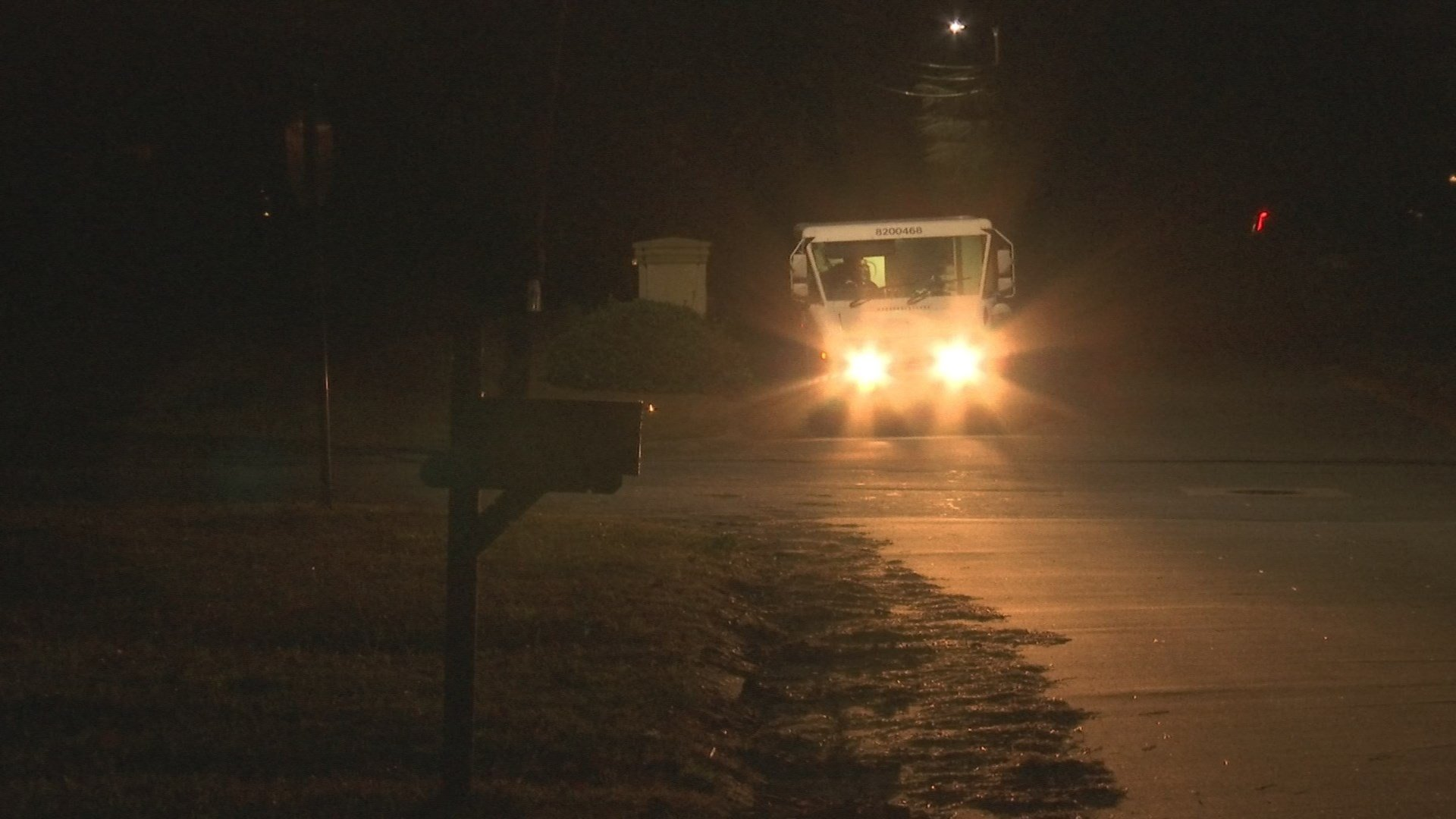 Mail delivery after dark in Doraville (WGCL)