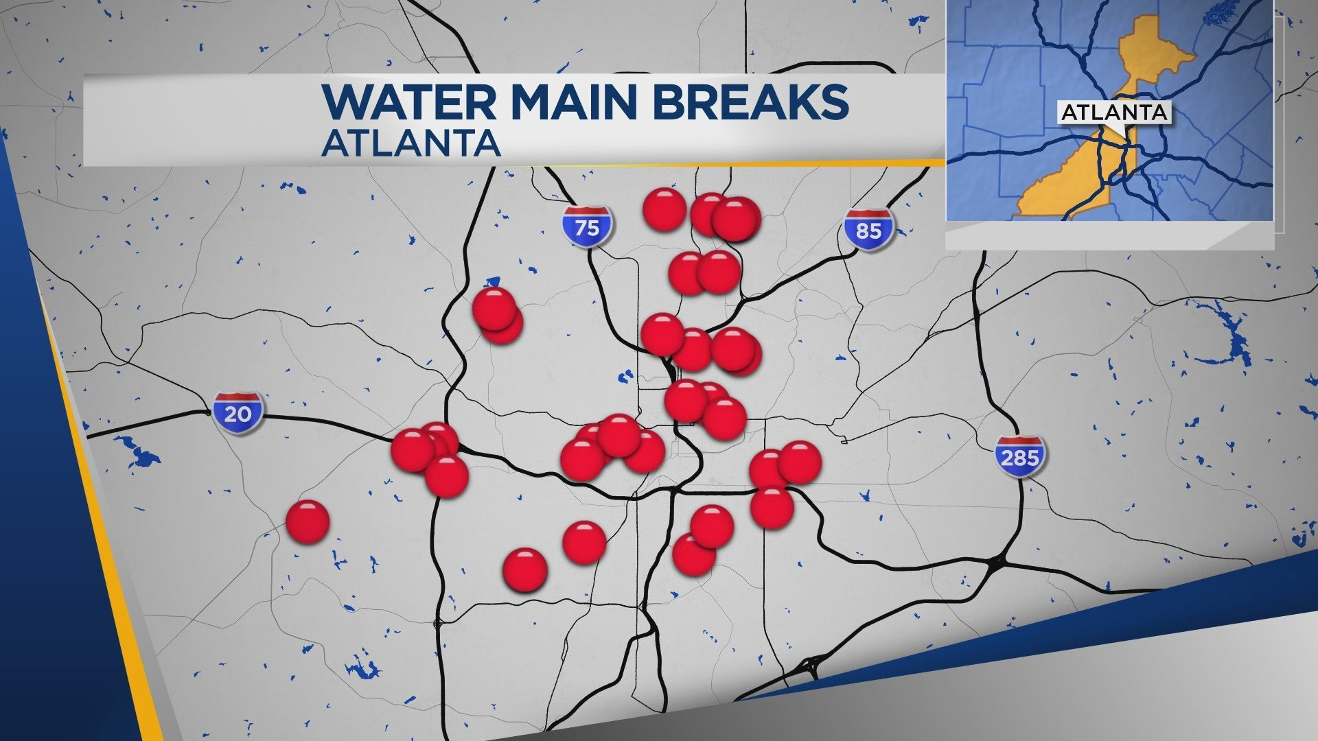 38 water main breaks were reported in Atlanta during a 3 day period