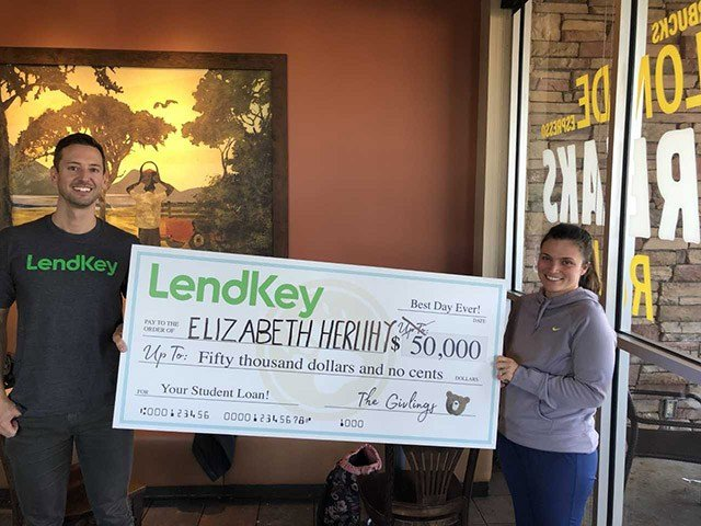 woman wins 50 000 check to pay down student loans cbs46 news. Black Bedroom Furniture Sets. Home Design Ideas