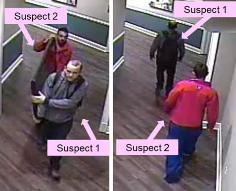 Suspect One returning to the gym with Suspect Two. (Source: Gwinnett County Police Department)