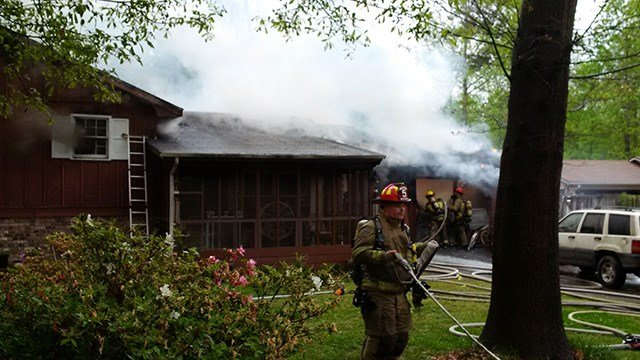 Firefighters fight fire at two-story Fairview Heights house